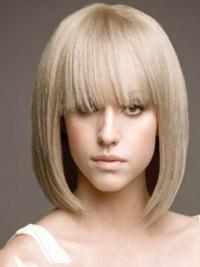 Young Fashion Shoulders Bob Hairstyle Platinum Blonde Straight Full Lace Human Wigs