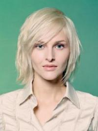 Young Fashion Chin Length Platinum Blonde Full Lace Human Wigs