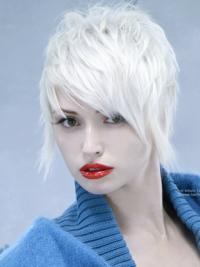 Young Fashion White Short Layers Full Lace Synthetic Wigs