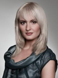 Young Fashion Grey Shoulder Length Lace Front Synthetic Wigs