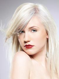 Young Fashion Platinum Blonde With Side Bangs Shoulder Length Capless Wigs
