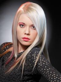 Young Fashion Platinum Blonde 16 Inchees Straight Lace Front Wigs