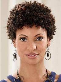 Style Brown Curly Short Glueless Full Lace Wigs