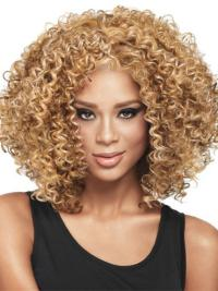 Top Blonde Curly Shoulder Length Wigs