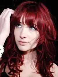 Hot Sale Most Popular Celebrity Red Color 100% Human Hair Curly Wig 18 Inches